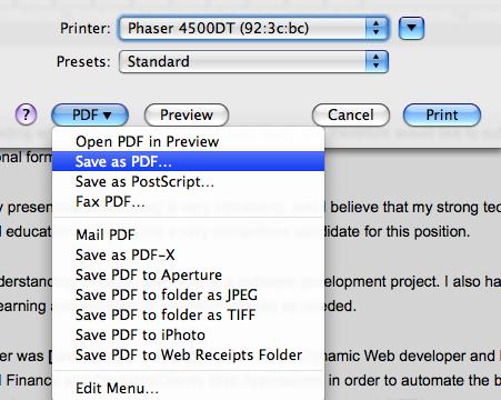 Como gerar um PDF num Mac